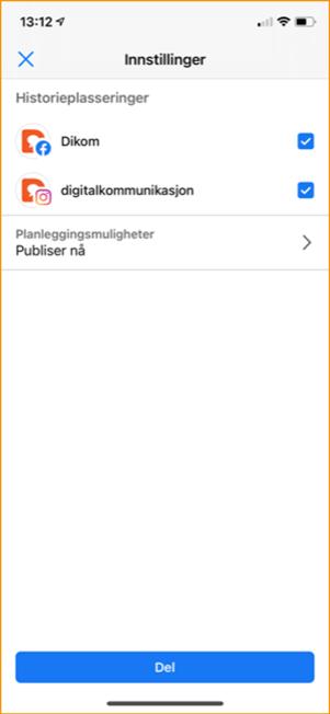 Velge kanal for publisering