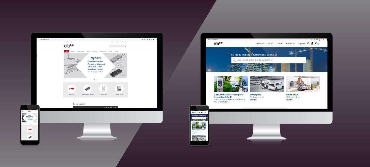 Nettside før og etter