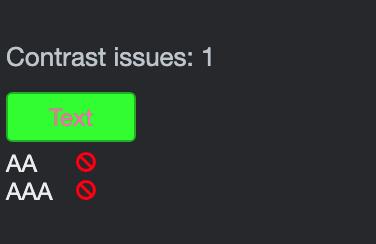 Error på Kontrasten på teksten på knappen