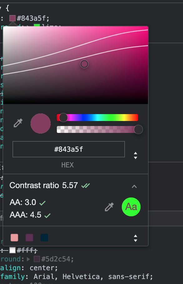 Dialogboks som viser hvilke farge man bør velge for å oppnå riktig kontrast med riktig farge valgt