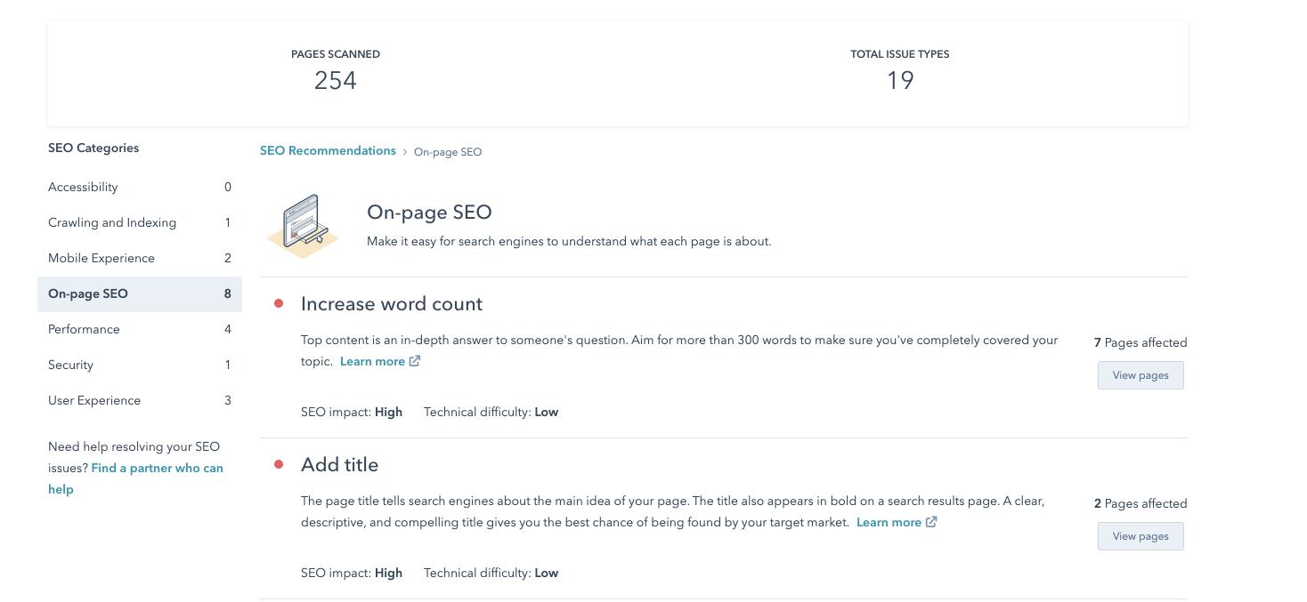 Seo anbefalninger i Hubspot SEO tools